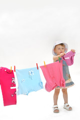 child and clothesline
