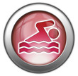 "Red glossy 3D effect button ""Swimming"""