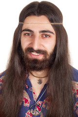 Long-haired smiling hippie man