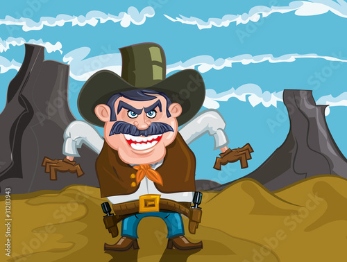 Foto Spatwand Wild West Cartoon cowboy with an evil smile