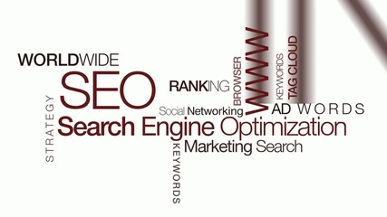 SEO Search Engine Optimization animation video tag cloud