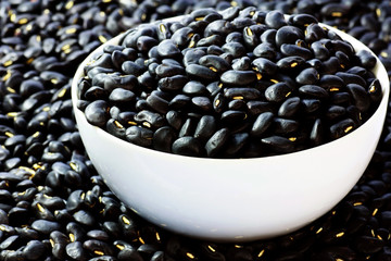 Black beans in bowl macro