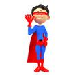 super hero cartoon saying hi