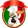 Chef pizza vector