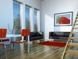 3d Rendering Wohnzimmer mit Ledergarnitur
