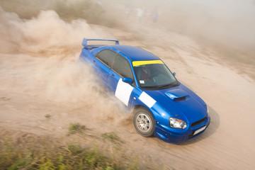 Blue rally car