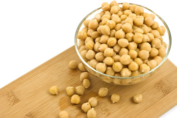Chickpeas in glass dish