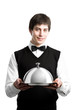 Happy waiter with cloche lid cover