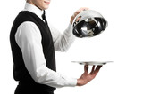Fototapety hands of waiter with cloche lid cover