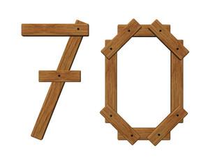 wooden number seventy