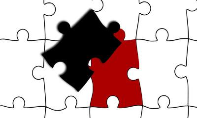 Puzzle Grafik Einzelteile rot