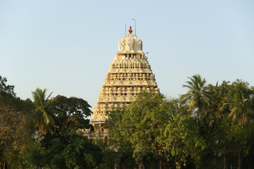 Traditional Hindu temple on lake in the city center, South India