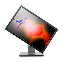 Monitor with heart on screen.