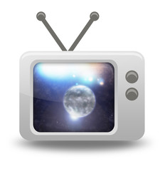 Cartoon-style TV Icon with Space Illustration on screen