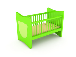 Newborn's bed over white background