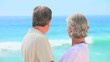 Mature couple looking at the sea