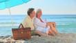 Mature couple hugging on a beach