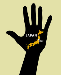 Hand with Japan Map With Seismic Epicenter. Help Japan