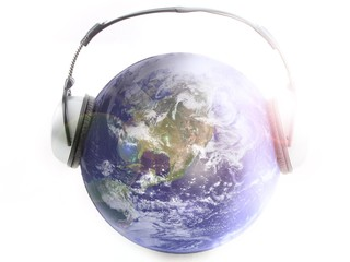 Music of earth whith white background