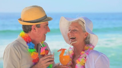Mature couple wearing garlands drinking fruit cocktails