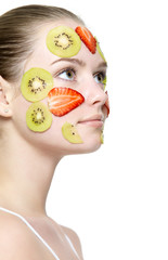 Girl with fruit mask