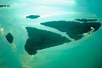 Aerial view of the Tanzanian coast
