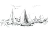 Sailing yachts and boat illustration