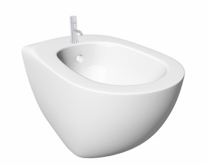 Round bidet design for bathrooms, with chrome faucet