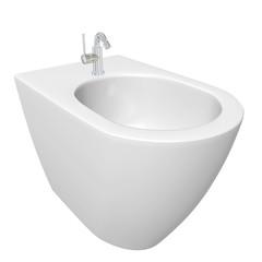 Round bidet design for bathrooms. 3D illustration