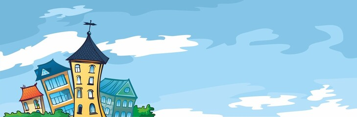 солнечный день, маленькие дома - голубой баннер