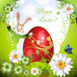 Easter card with bunny, flowers and decorated egg