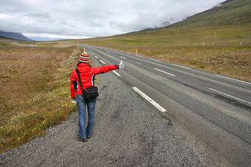 Hitchhiker in Iceland