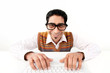 Mann am Computer mit Brille, lustig