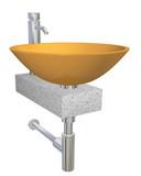 Orange bowl ceramic sink with chrome faucet on a granite slab poster