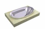 Chrome soap holder sitting on a granite slab poster