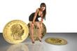 Sexy junge Frau präsentiert Goldmünzen