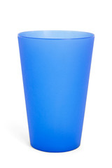 Cup, Blue plastic on white background. with