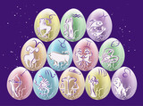 Easter eggs with Zodiac signs