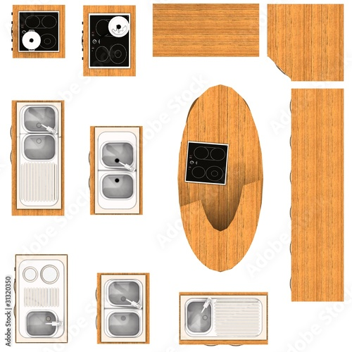 floor plan, kitchen furniture set