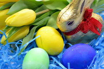 Easter Eggs, Bunny, and Tulips