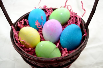 Easter Basket of Colored Eggs