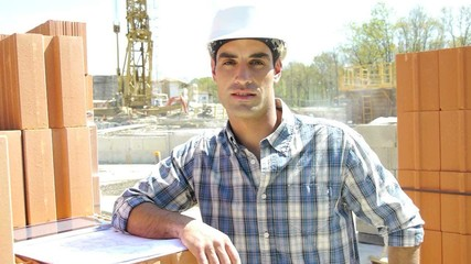 Construction manager on building site