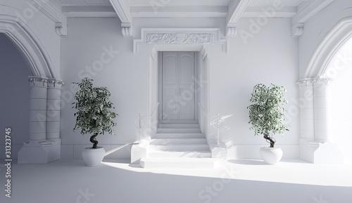 3d building entrance - clay render