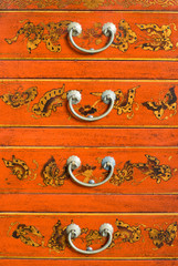 Old Chinese cabinet with traditional painting