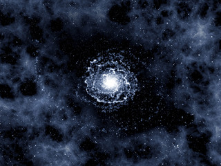 Starry universe with galaxy, clusters of stars and gases