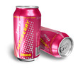 Raspberry soda drinks in metal cans