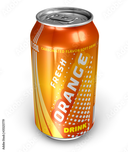 Orange soda drink in metal can