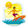 Men surfing in tropical sea - applique from color shapes