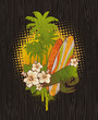Tropical surfing emblem painting on a wood board