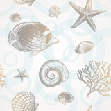 Vector seamless background - underwater tropical fauna poster